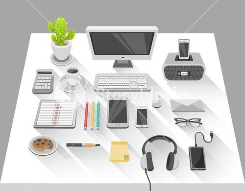 Desk with computer and various media devices vector