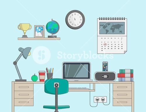 Desk with computer in office room