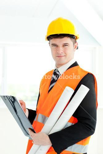 Selfassured archticet holding a clipboard and blueprints