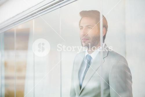 Portrait of thoughtful businessman through the window