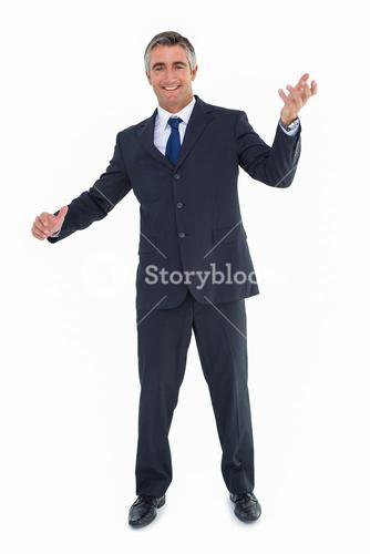 Cheerful businessman with arms out