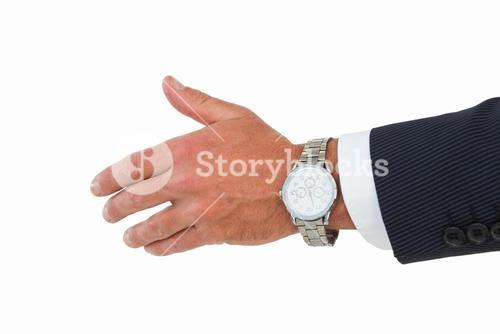 Businessman in suit offering handshake