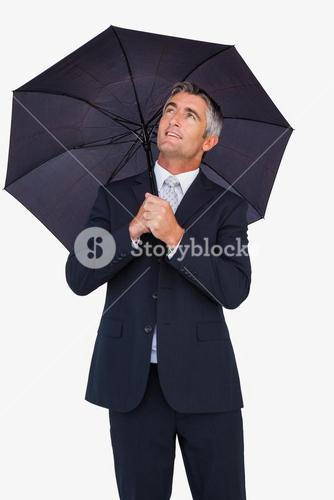 Smiling businessman sheltering with umbrella