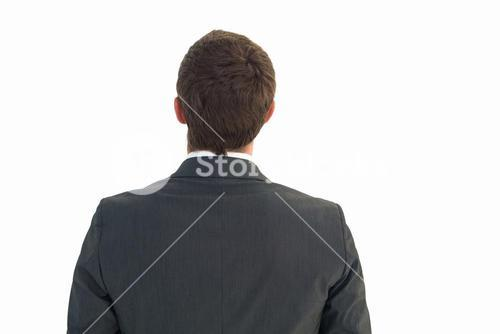 Businessman looking up in suit