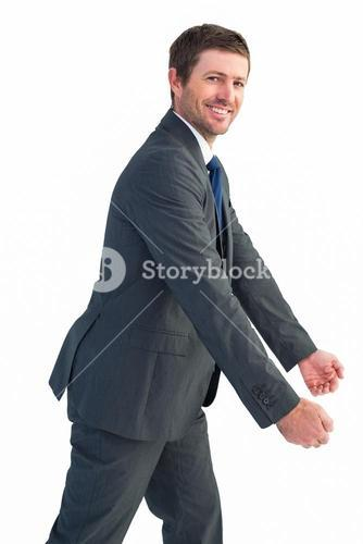 Businessman with his hands out