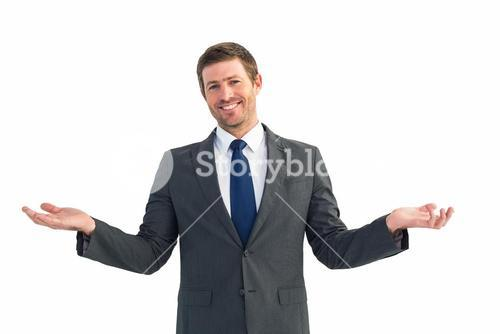 Happy businessman with hands out