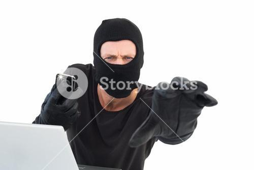 Hacker reaching out to camera