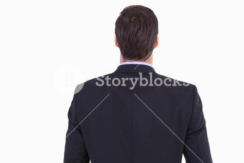Rear view of handsome businessman