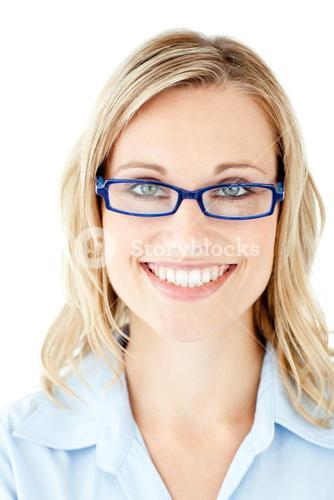 Confident businesswoman with glasses smiling at the camera