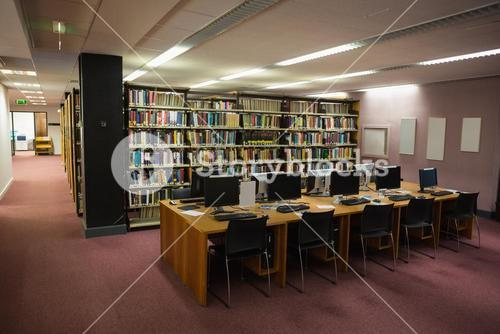 Computer desks in the library