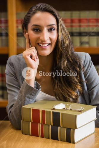 Pretty lawyer in the law library