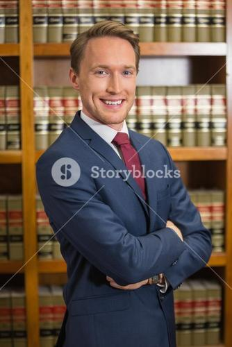 Lawyer smiling in the law library