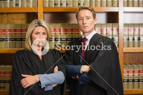 Team of lawyers in the law library