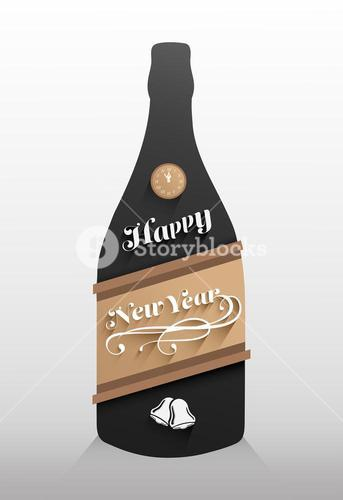 New years message on champagne bottle vector