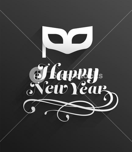 Happy new year vector with mask