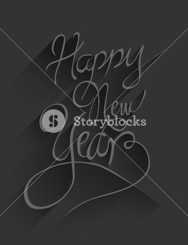 Happy new year vector in embossed black