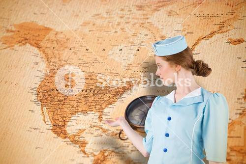 Composite image of pretty air hostess presenting with hand