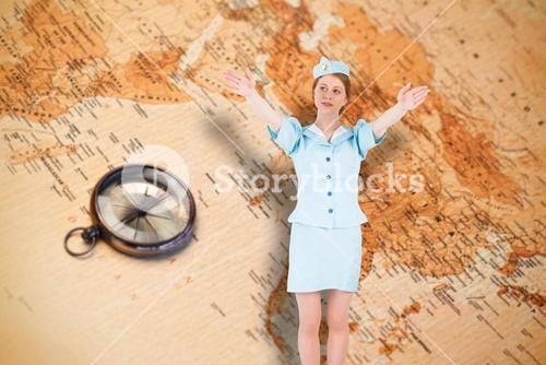 Composite image of pretty air hostess with arms raised