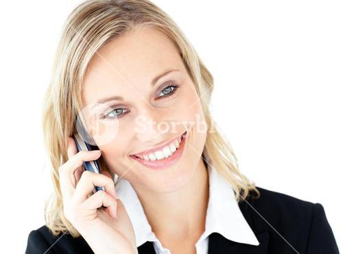 Portrait of a radiant businesswoman talking on phone