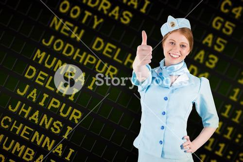 Composite image of pretty air hostess with hand on hip