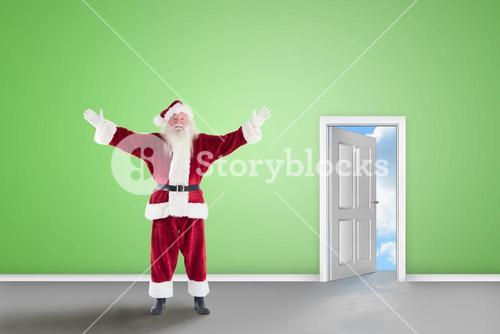 Composite image of jolly santa opens his arms to camera