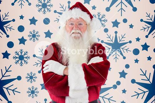 Composite image of santa smiles with folded arms