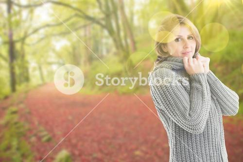Composite image of pretty girl in jumper