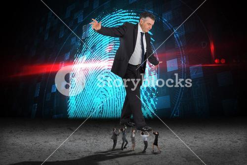 Composite image of business people supporting boss
