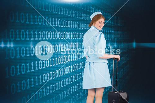 Composite image of pretty air hostess leaning on suitcase