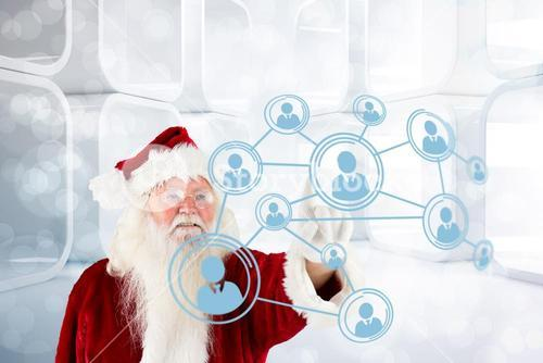Composite image of santa claus pointing