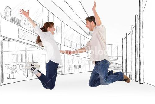 Composite image of couple jumping and holding hands
