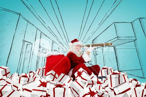Composite image of santa looking through a telescope