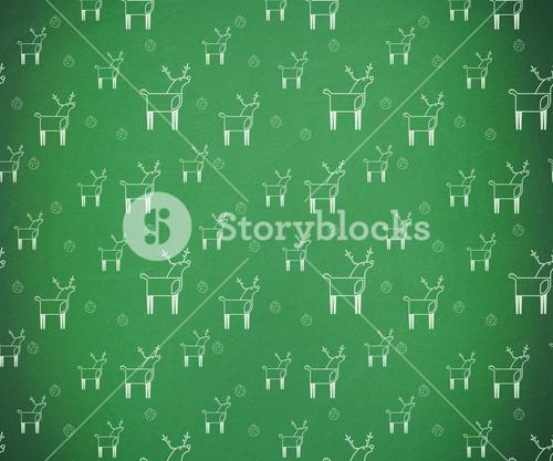 Green and white reindeer pattern wallpaper