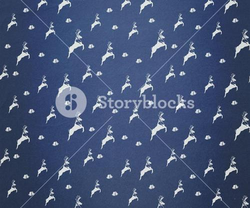 Blue and white reindeer pattern wallpaper