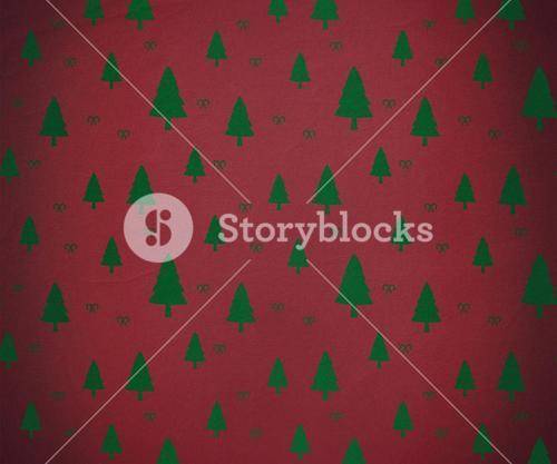 Red and green tree pattern wallpaper