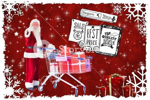 Composite image of santa likes to push a shopping cart with presents