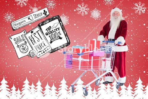 Composite image of santa pushes a shopping cart with presents