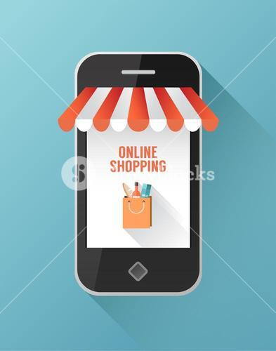Online shopping on smartphone screen
