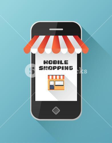 Mobile shopping on smartphone screen