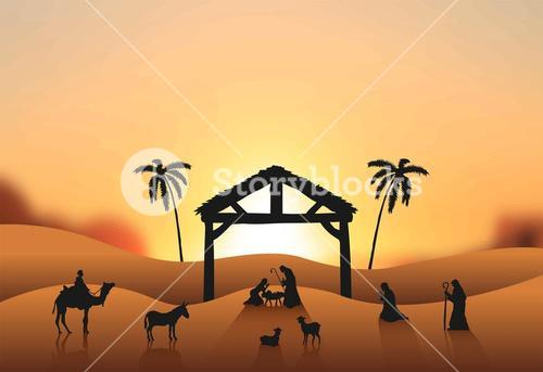Nativity scene vector in desert
