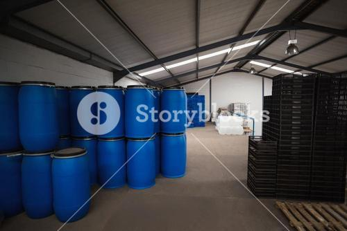 Close up of storage room for containers