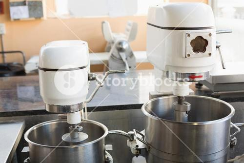 Industrial mixers on counter
