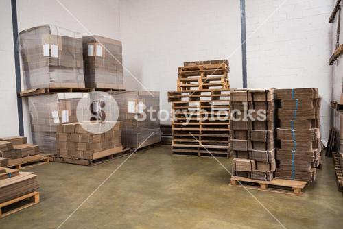 Many stack of cardboard boxes