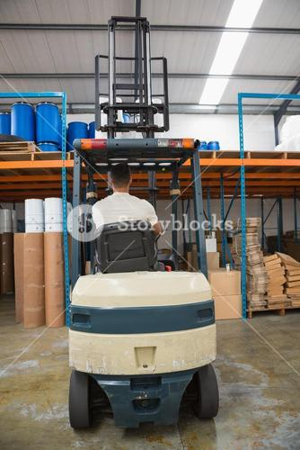 Rear view of forklift machine