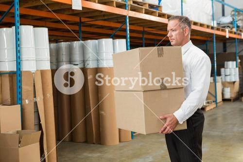 Warehouse manager carrying cardboard boxes