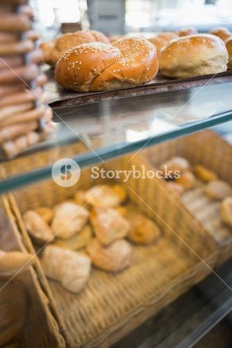 Counter with delicious breads freshly baked