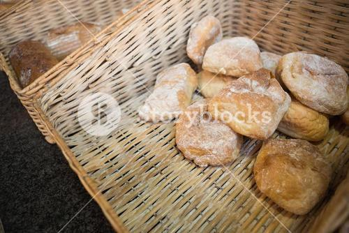 Close up of basket with rustic breads