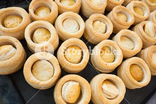 Pastry case of vol-au-vent