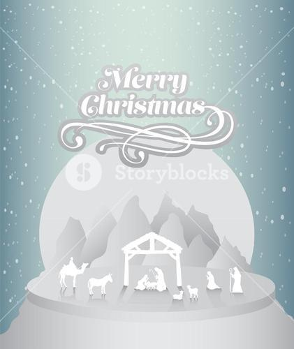 Merry christmas vector with nativity scene