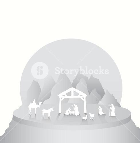 Christmas vector with nativity scene